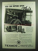 1937 Texaco Algol and Ursa Oils Ad - You Can Depend On