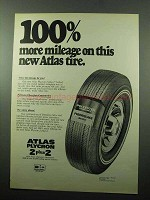 1969 Atlas Plycron 2 plus 2 Tire Ad - More Mileage