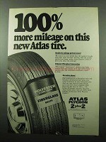 1969 Atlas Plycron 2 plus 2 Tire Ad - Mileage