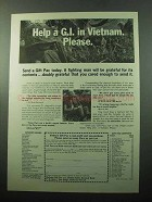 1969 Vietnam Gift Pac Ad - Help a G.I. Please