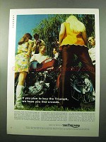 1969 Triumph Motorcycle Ad - We Hope You Like Crowds
