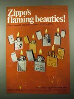 1969 Zippo Cigarette Lighters Ad - Flaming Beauties