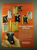 1969 Ronson Cigarette Lighters Ad - Topless Beauties