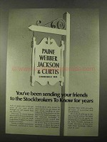 1969 Paine Webber Jackson & Curtis Ad - Sending Friends