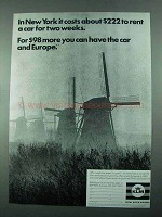 1969 KLM Royal Dutch Airlines Ad - $222 to Rent a Car
