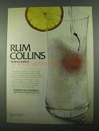1969 Puerto Rican Rum Ad - Rum Collins How To Make It