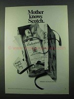 1969 Ballantine's Scotch Ad - Mother Knows Scotch