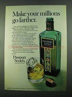 1969 Passport Scotch Ad - Make Millions Go Farther