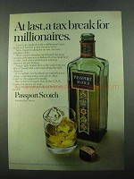 1969 Passport Scotch Ad - A Tax Break for Millionaires
