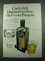 1969 Passport Scotch Ad - Catch a Little Sunshine