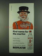 1969 Beefeater Gin Ad - First Name of the Martini