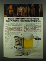 1969 Falstaff Beer Ad - Knew Prohibition Around Corner