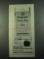 1969 Seagram's Extra Dry Gin Ad - Marinated Olives