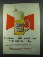 1969 Budweiser Beer Ad - Sometime, Even Cocktail Crowd