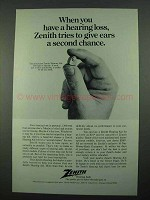 1969 Zenith Hearing Aid Ad - Give Ears a Second Chance