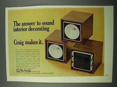1969 Craig Model 1504 Stereo Receiver System Ad