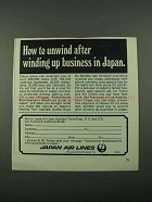 1969 Japan Air Lines Ad - Unwind After Winding Up