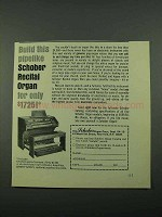 1969 Schober Recital Organ Ad - Build This Pipelike