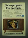 1969 Philco Television Ad - Proposes The Face Test