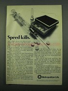 1969 Metropolitan Life Insurance Ad - Speed Kills