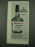 1969 Maker's Mark Bourbon Ad - Tastes Expensive
