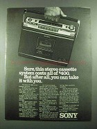 1976 Sony CF-580 Cassette Recorder Ad - Take With You