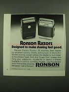 1976 Ronson Electric Razors Ad - Shaving Feel Good