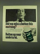 1976 Mennen Pushbutton Deodorant Ad - Miss Button