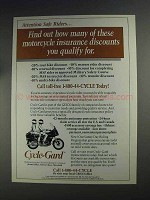 1991 Geico Cycle-Gard Insurance Ad - Many Discounts