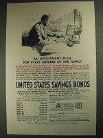1937 United States Savings Bonds Ad - Investment Plan
