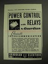 1937 Guardian Electric Relays Ad - Power Control