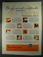 1936 Republic Steel Ad - Blazing New Trails to Profits