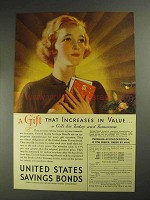 1936 United States Savings Bonds Ad - Gift Increases