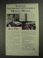 1936 International Nickel Monel Metal Ad - Brush-Color