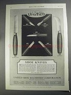 1927 USMC Shoe Knives Ad - Square Point, McKay Stitcher