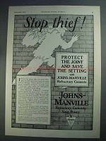 1927 Johns-Manville Refractory Cements Ad - Stop Thief