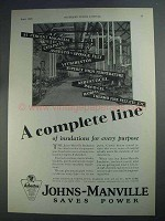 1927 Johns-Manville Insulation Ad - A Complete Line