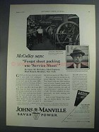 1927 Johns-Manville Service Sheet Ad - McCulley Says