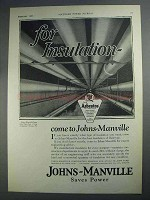 1927 Johns-Manville Insulation Ad - For Insulation