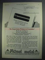 1927 International Nickel Monel Metal Ad - Important