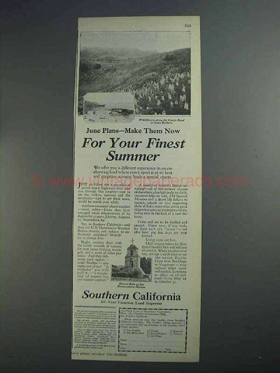 1927 Southern California Tourism Ad - Finest Summer