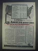 1927 Los Angeles California Ad - Compare Power Rates