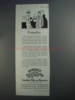 1927 Gargoyle Leather Oils and Greases Ad - Prejudice