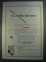 1927 Texaco Lubricants Ad - To Turbine Operators