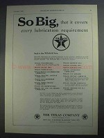 1927 Texaco Lubricants Ad - So Big, That it Covers