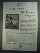 1927 Bell Long Distance Service Ad - Boats are Coming