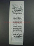 1927 Thos. Cook & Son Cruise Ad - Go to Europe