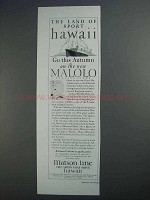 1927 Matson Line Ad - The Land of Sport Hawaii