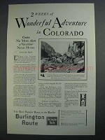 1927 Burlington Route Ad - Adventure in Colorado