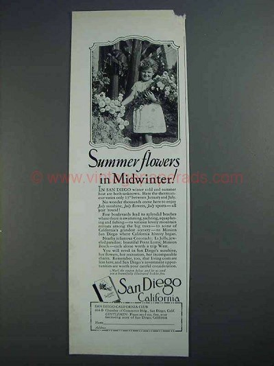 1927 San Diego California Ad - Summer Flowers Midwinter